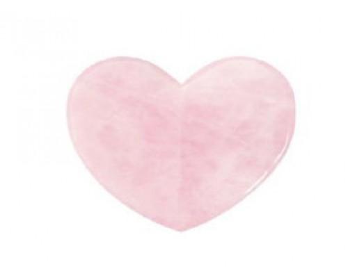 Набор Скребок гуаша Сердце 3 D, сувенирный (роз.кварц)+Мешочек (розовый)