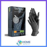 Перчатки BENOVY НИТРИЛ, текстур.пальц, черные, 100шт
