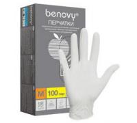 Перчатки BENOVY НИТРИЛ, текстур.пальц, белые 200шт