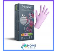 Перчатки BENOVY НИТРИЛ, текстур.пальц, розовые 100шт