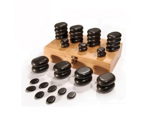 Набор базальтовых камней в коробке из бамбука 36 шт. НК-1Б