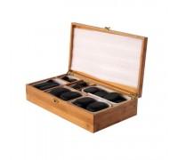 Набор массажных камней из базальта в коробке из бамбука (45 шт.) НК-2Б