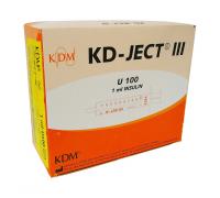 Шприц KD-Ject III инсулиновый (3-х комп.) 1 мл, U100 съемная игла 29G (0,33X12)