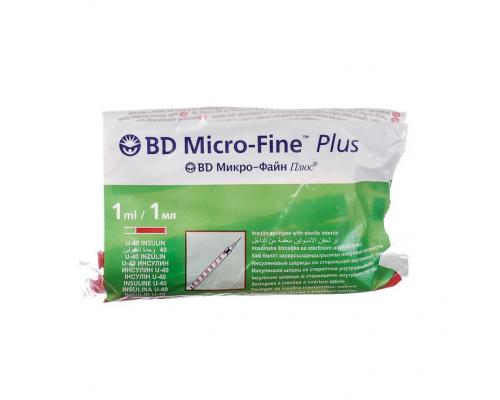 Шприц BD Micro-Fine Plus (3-комп.) 1 мл u40, интегрир.игла 30G (0,30X8,0)