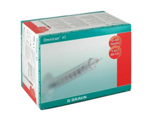 Шприц B.Braun Omnican 40 (3-х комп.) 1 мл U40, интегрир.игла 30G (0,30X12,0)