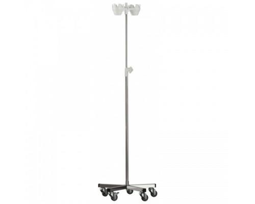 Штатив медицинский для длительных вливаний МСК - 5310 (нерж. сталь) на колёсах